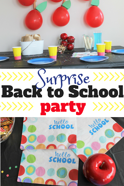 Put together a super simple surprise back to school party for your children this fall to celebrate the start of the new year and to show them how much you missed them after the first day of school.