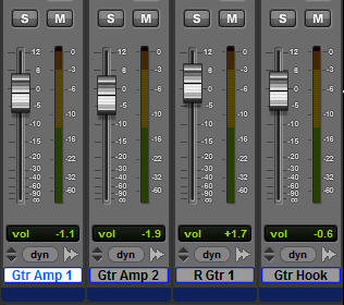A section of the Pro Tools Mix Window with 1 track selected.