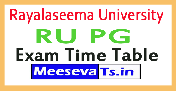 Rayalaseema University RU PG Exam Time Table 2017