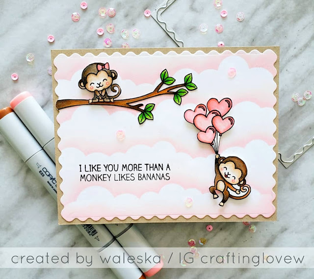 Sunny Studio Stamps: Love Monkey Love Themed Customer Card by Waleska