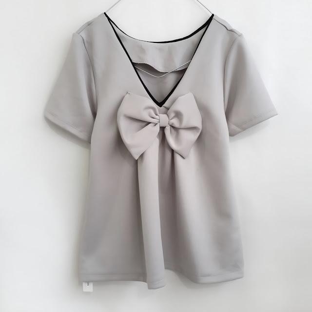 blouse atasan wanita punggung V pita besar Big bow V back