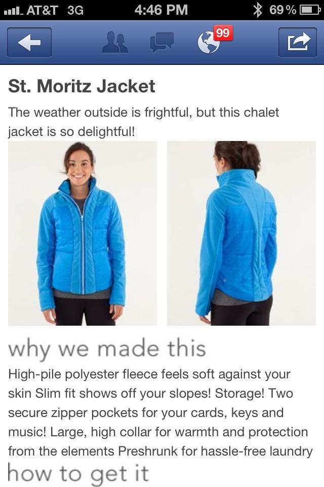 9509d3e03823c Lululemon Addict  NEW! St. Moritz Jacket