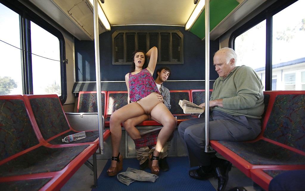 Hot brunette was risky blowjob in public bus