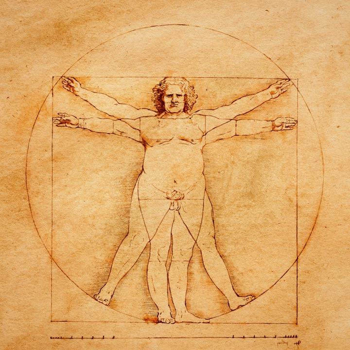Den Vitruvianske mand som overvægtig, af Costis Papatheodorou