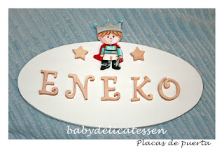 placa de puerta infantil príncipe nombre Eneko babydelicatessen