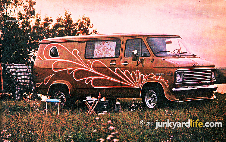 Vintage 1976 GMC cutom van ad featured wild paint to encourage you to buy their van and do-it-yourself.