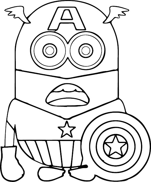 Minions Coloring Pages Captain America