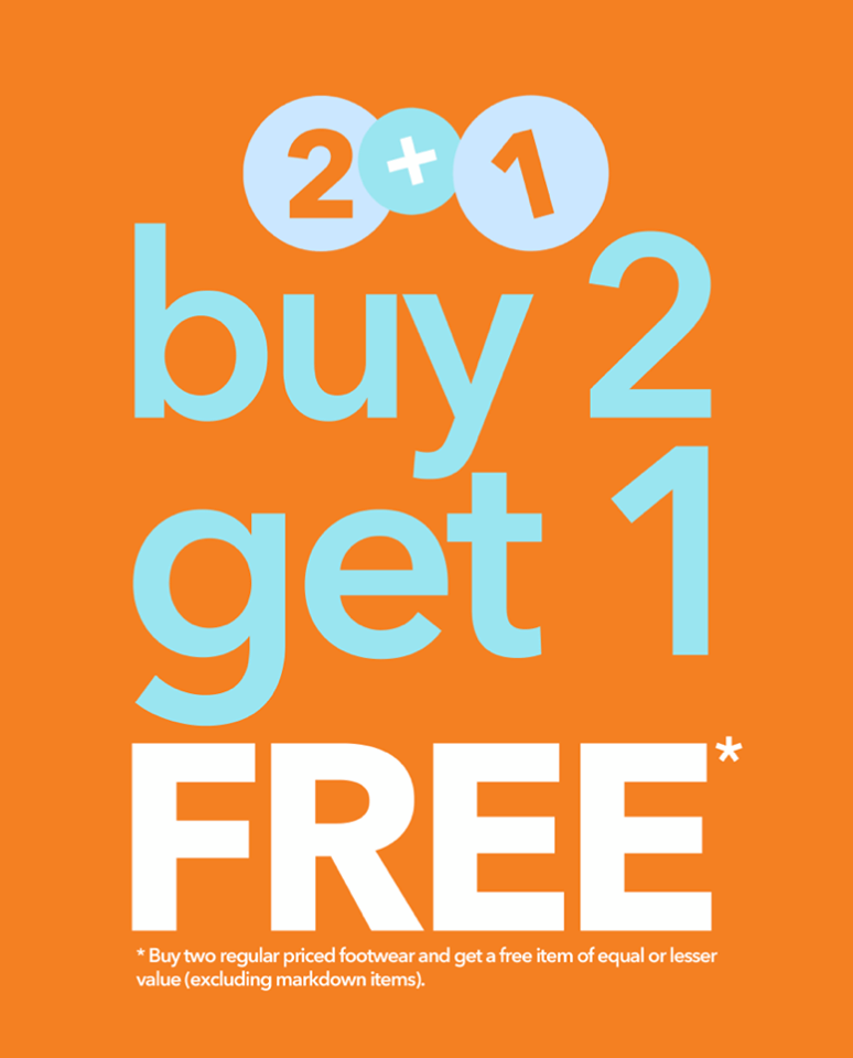 e24cee9be24ea Make a trip to Payless this weekend and enjoy 2+1 sale! Buy two regular  priced footwear and get a free item of equal or lesser value.