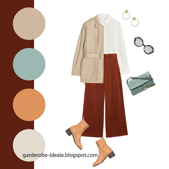 Жакет утилити с вельветовыми брюками и белой рубашкой