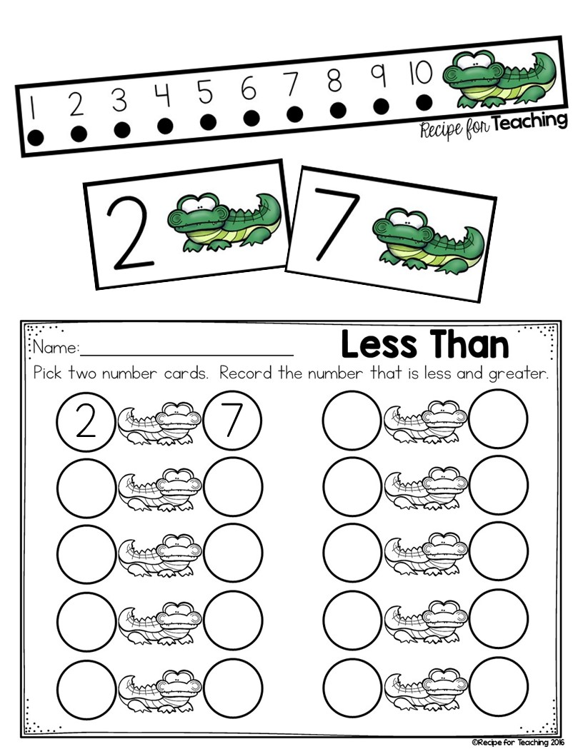 worksheet Less Than More Than greater than and less alligator math recipe for teaching circle the number that is on right this way it would read tail facin