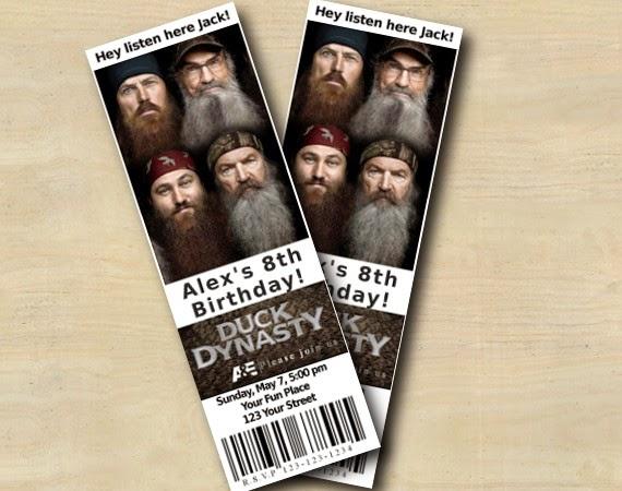 Custom Birthday Party Invitations Duck Dynasty Ticket Invitation T17