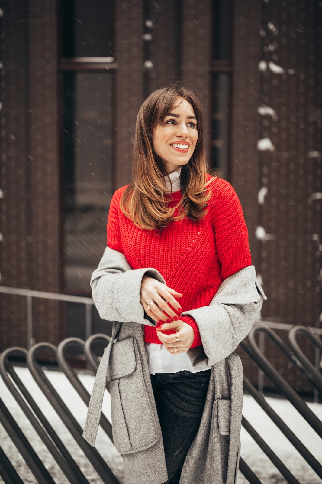 red sweater outfit winter