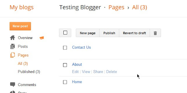 creating pages in blogger