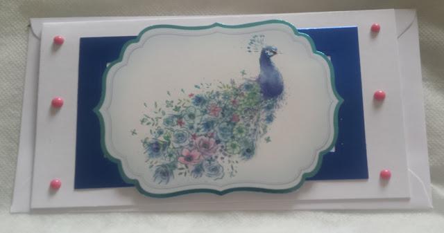 Oriental peacock blank DL landscape card