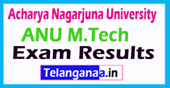 Acharya Nagarjuna University ANU M.Tech Exam Results