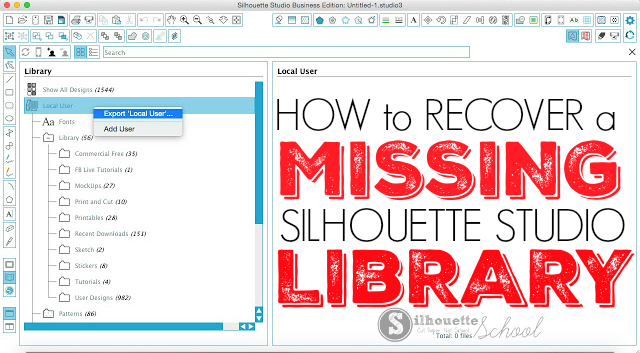 recover silhouette studio library, find missing files, silhouette studio crash, silhouette studio designs missing, silhouette cameo tutorial