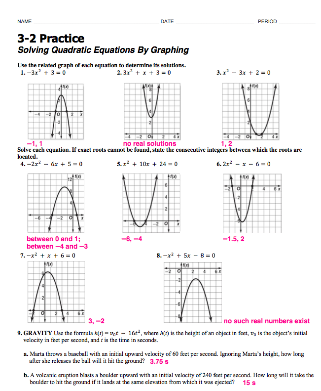Solving Quadratic Equations By Graphing Worksheet Answers 4 2 Tessshebaylo