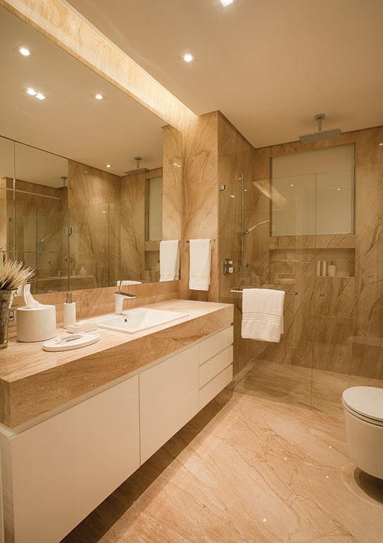 Construindo Minha Casa Clean 20 Banheiros com Bancadas Bege  Veja Dicas e I -> Decoracao De Banheiro Pequeno Bege