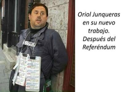 Oriol Junqueras en su nuevo trabajo después del Referéndum, cupón, ONCE, ciegos, ojos