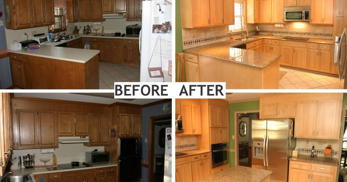 U shaped kitchen remodel before and after for Kitchen remodel before after