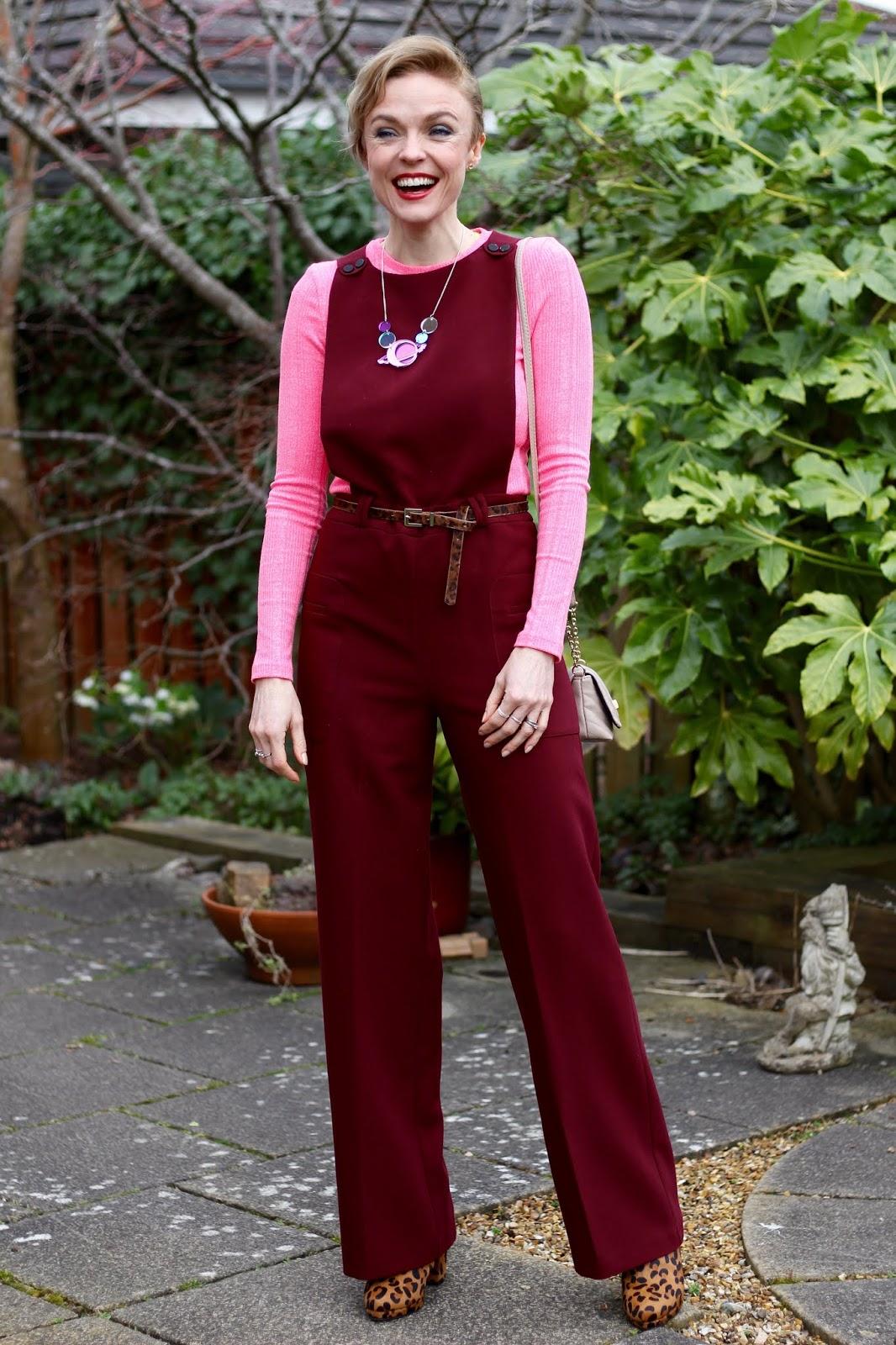 Burgundy Jumpsuit, Neon Pink, Leopard Boots | Fake Fabulous