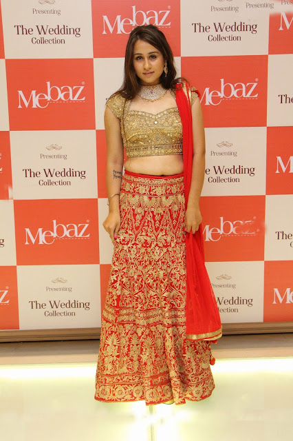 Simrath Juneja in Red Lehenga and Golden Choli