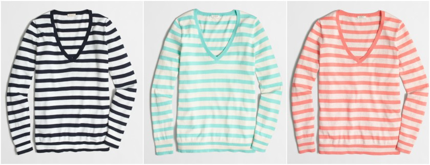 J. Crew Factory Striped V-Neck Sweater $18 (reg $55)