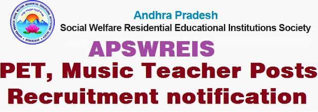 APSWREIS,PET,Music Teacher Posts,recruitment notification