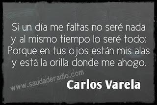 """""""Si un día me faltas no seré nada y al mismo tiempo lo seré todo: Porque en tus ojos están mis alas y está la orilla donde me ahogo."""" Carlos Varela - Una palabra"""