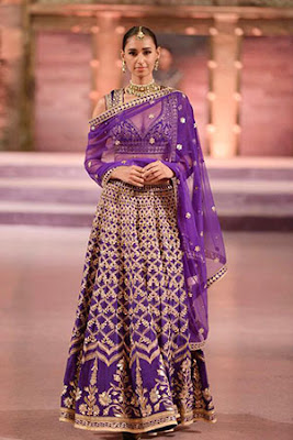 Stunning Photo Of Indian Model In Purple Mehndi Outfit.