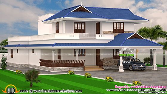 4 bedroom Kerala Model 3176 sq-ft home