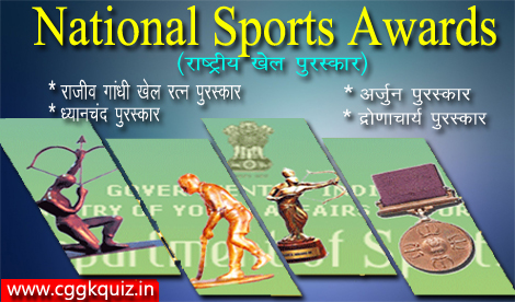 list of national sports awards 2015-2016 gk quiz hindi like- rajiv gandhi khel ratna award, dronacharya, arjuna, dhyanchand award players/winners names and sports current affairs hind [राष्ट्रीय खेल पुरस्कार] chhattisgarh gk news etc.