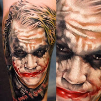 Tatuaje de The Joker Heath Ledger a color