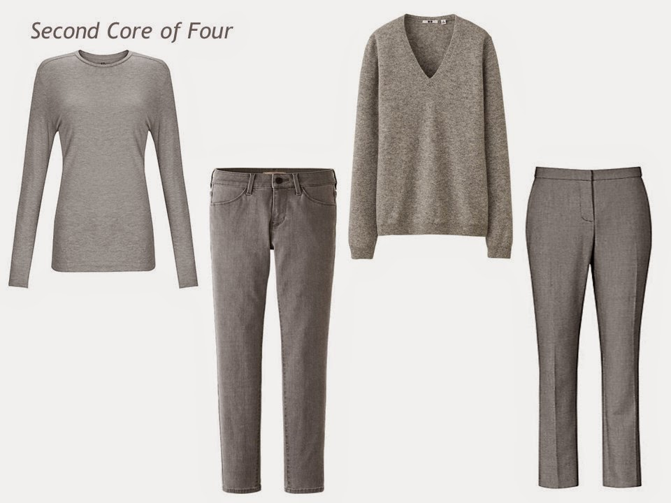 Second Core of Four in grey - tee shirt, jeans, sweater and trousers