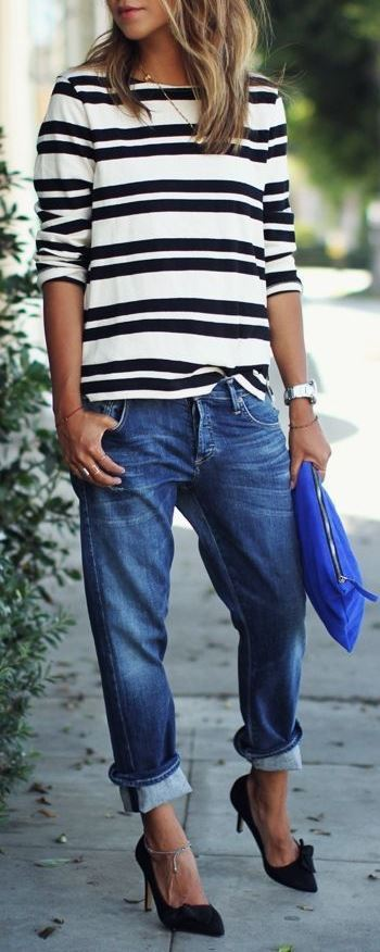 casual outfit idea: top + jeans