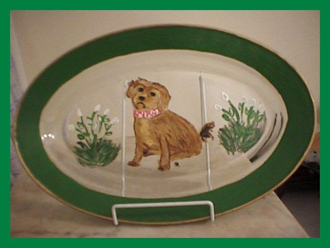 hand painted dog platter