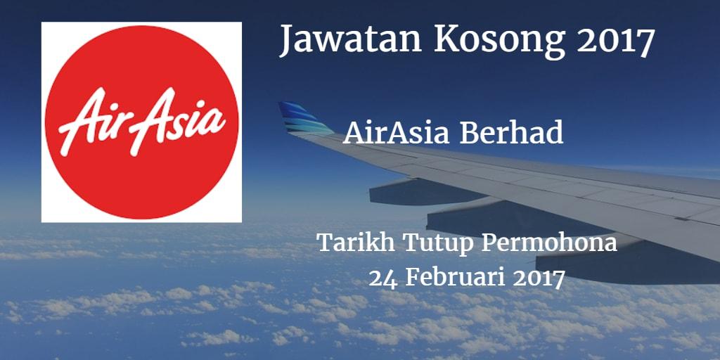 Jawatan Kosong  AirAsia Berhad 24 Februari 2017