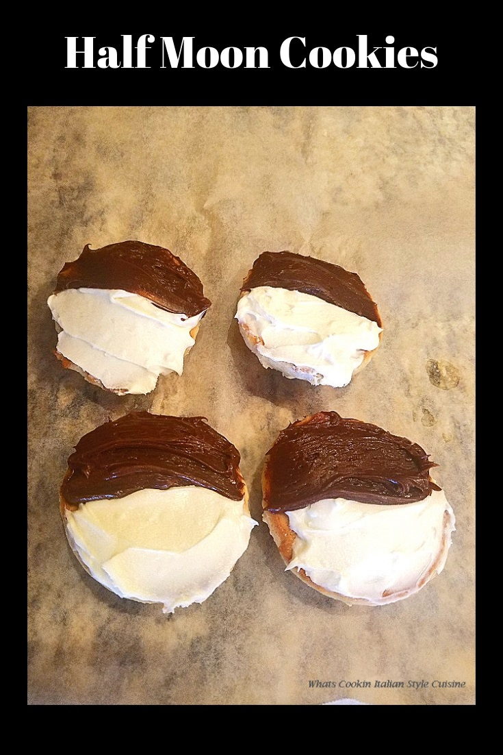 These are half moon vanilla cookies made with two kinds of frosting chocolate and vanilla frosted.