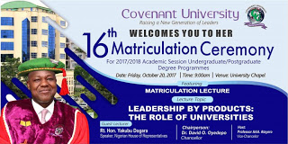 Covenant University 16th Matriculation Ceremony Schedule Out