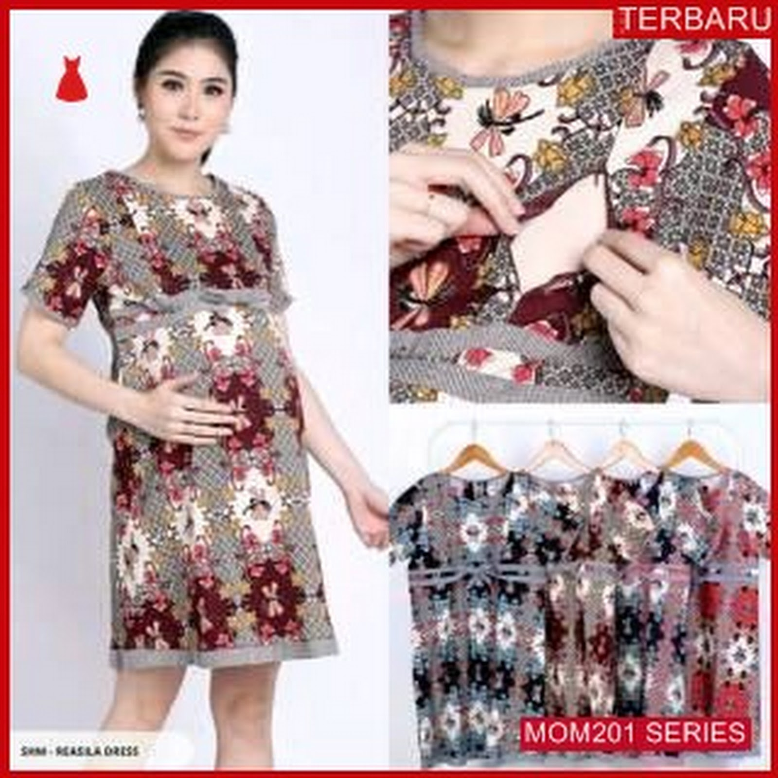 Mom201d25 Dress Hamil Batik Kupu Kupu Dresshamil Ibu Hamil