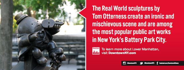 Pubblicità della Downtown Alliance, The Real World di Tom Otterness, Battery Park City, New York