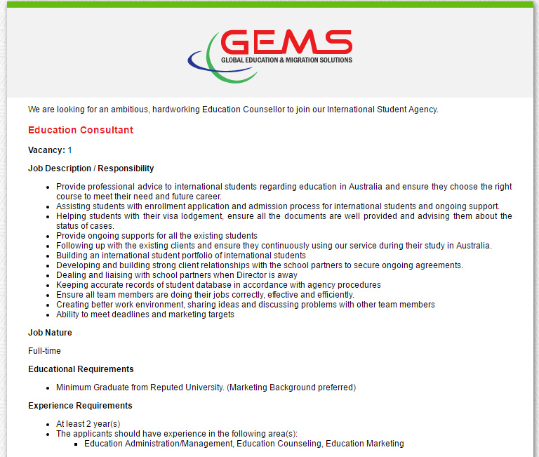 Global Education And Migration Solutions Pty Ltd Education