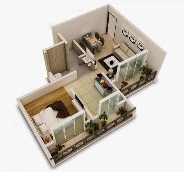 Denah Minimalis Dengan 1 Kamar Tidur Ruang Tamu Dapur