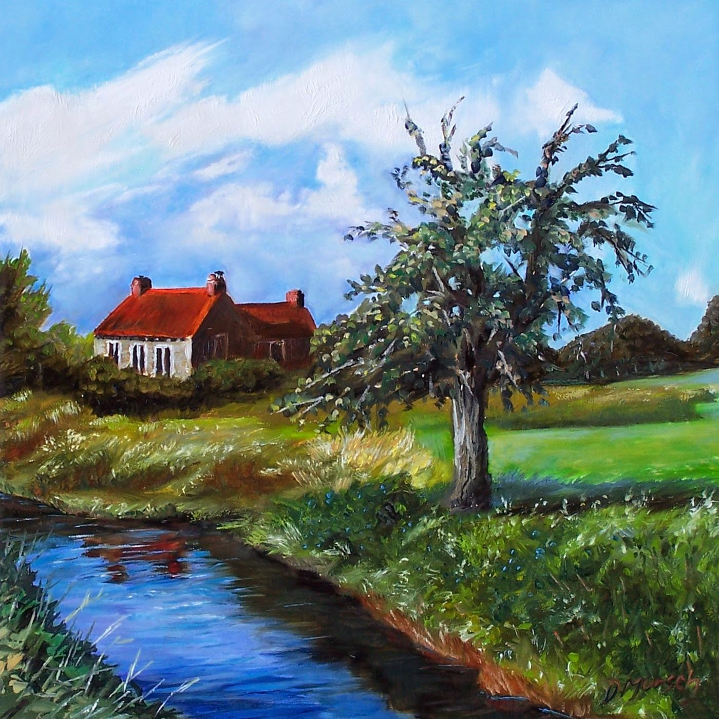 Donna Munsch Fine Art: Original Oil Painting Country Cottage