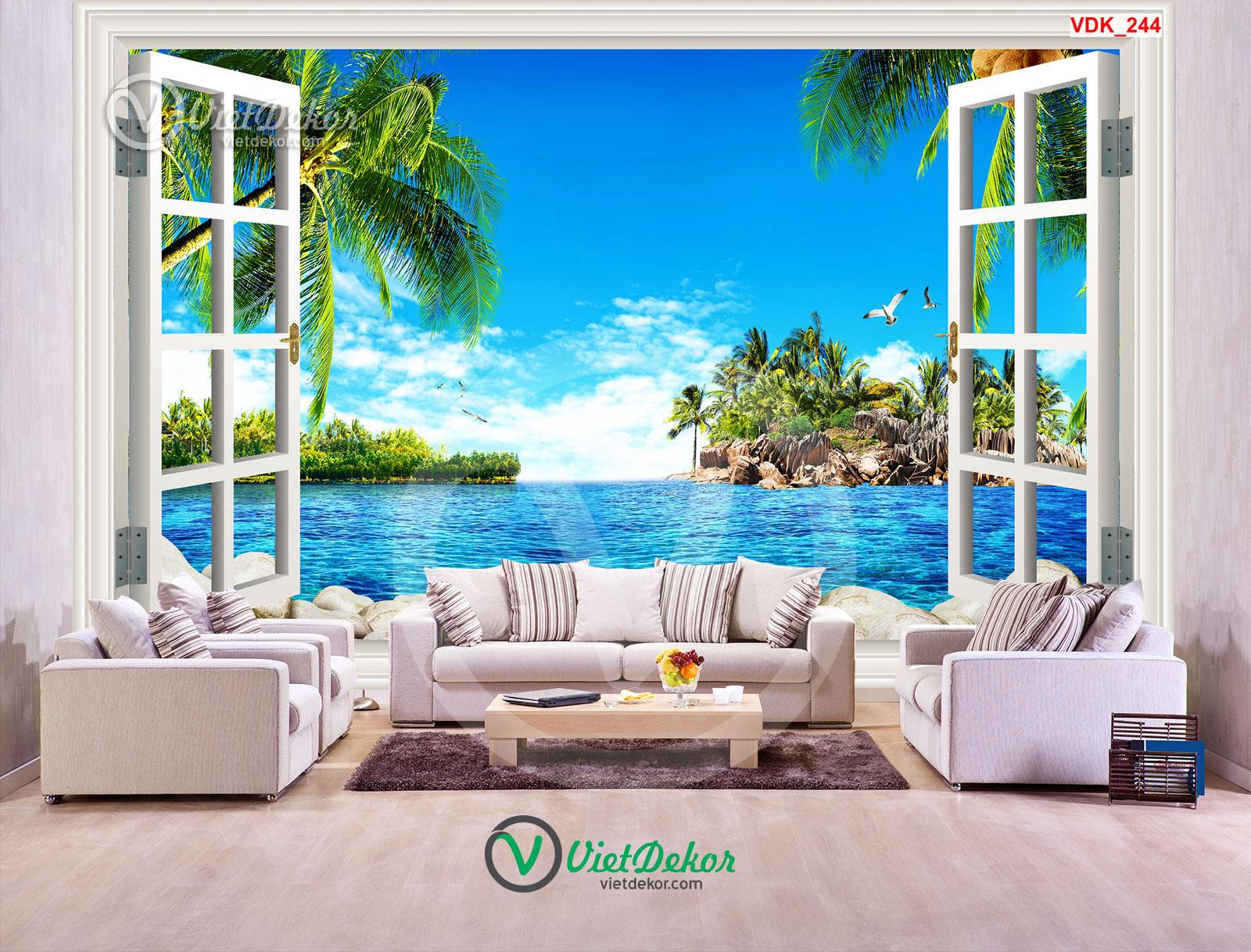 Tranh 3d dán tường cửa sổ phong cảnh biển đảo và cò