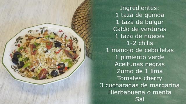 Ingredientes ensalada de quinoa y bulgur