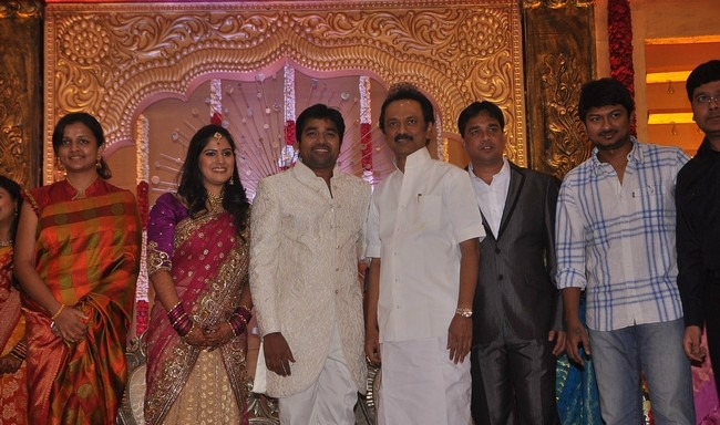 Stalin And Udhayanidhi At The Actor Shiva Wedding Day Reception
