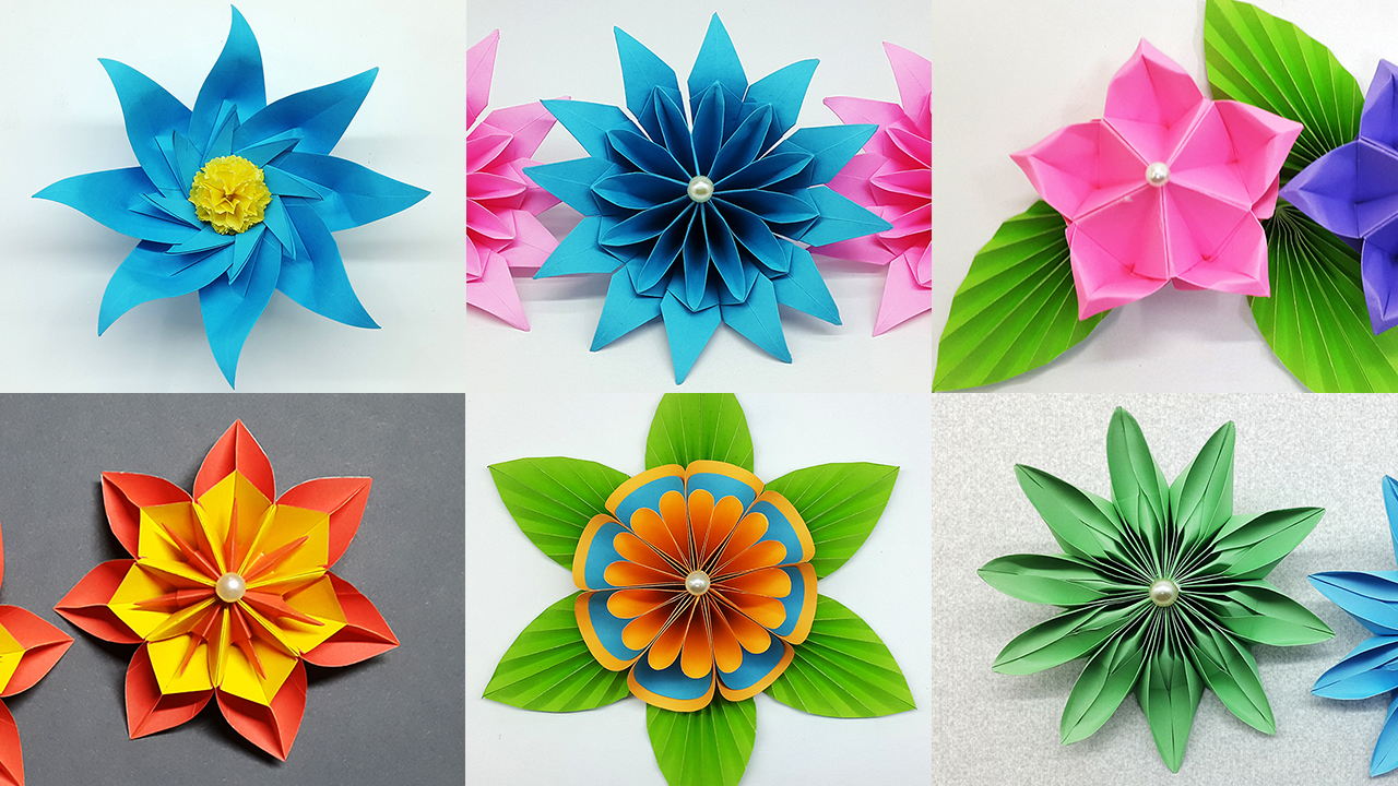 Colors Paper 6 Easy Paper Flowers Making Tutorial Diy Flower Crafts