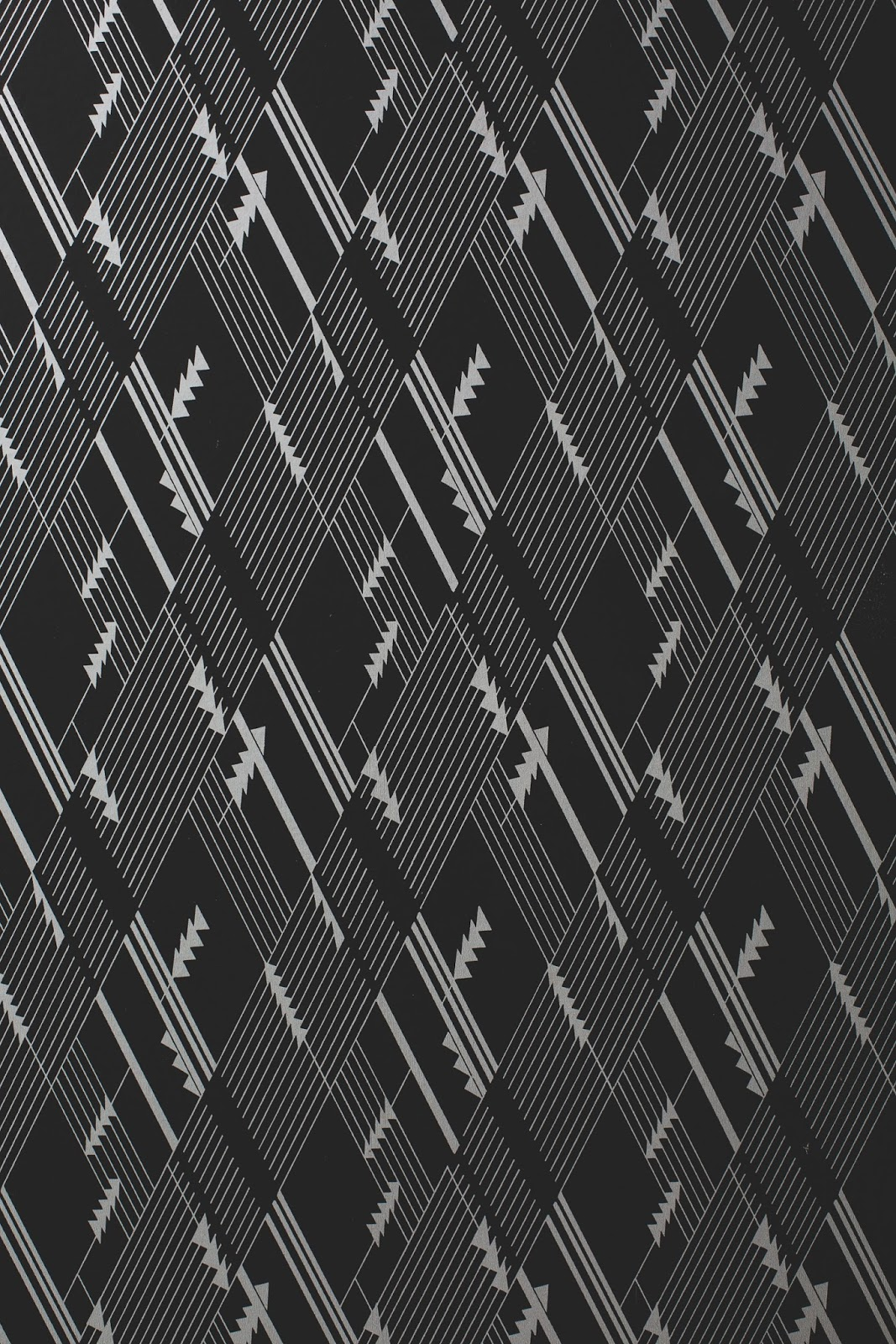 Art Deco geometric black and white wallpaper in Bells Theatre, Bells TN - bit.ly/bellstheatre