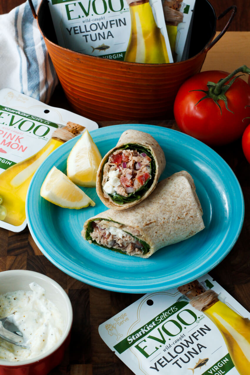 Spinach and Feta Tuna Wrap